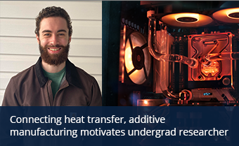 An undergrad student smiles and an illustration of a supercomputer with cooling components.