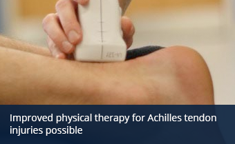 A person uses NMES on an injured Achilles tendon.
