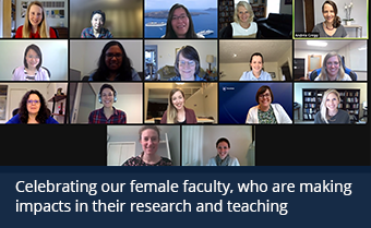 A collage of Zoom screenshots featuring female faculty.