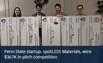Penn State startup, spotLESS Materials, wins $367K in pitch competition