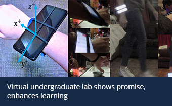A collage of images of students conducting experiments with smartphones