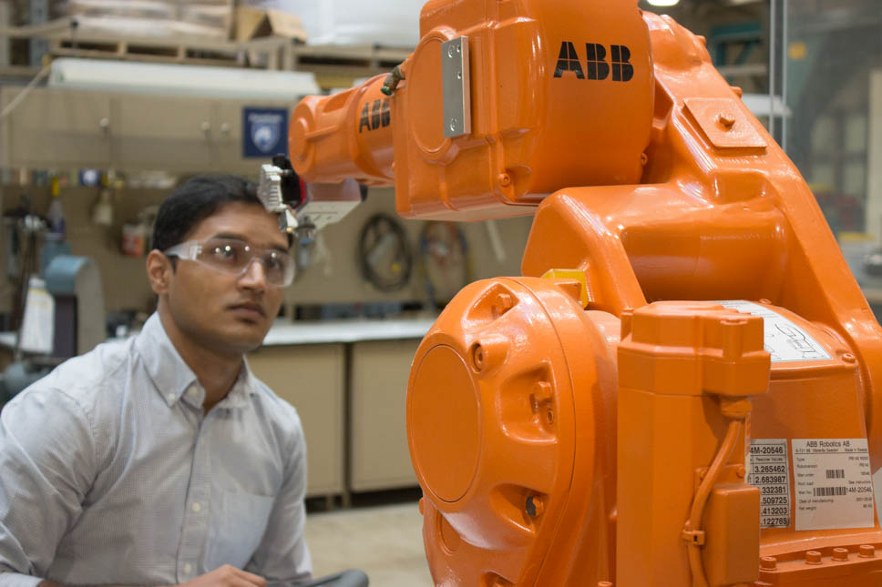 Rakshith Badarinath works in the Factory for Advanced Manufacturing Education Lab.