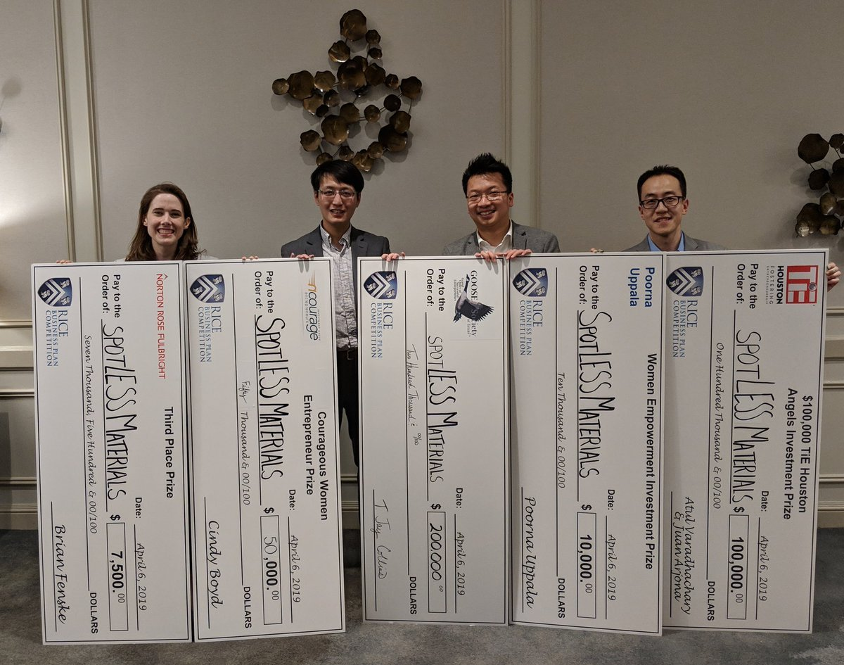 spotLESS Materials LLC, a startup company developed from research conducted in the Penn State Department of Mechanical Engineering, won third place.